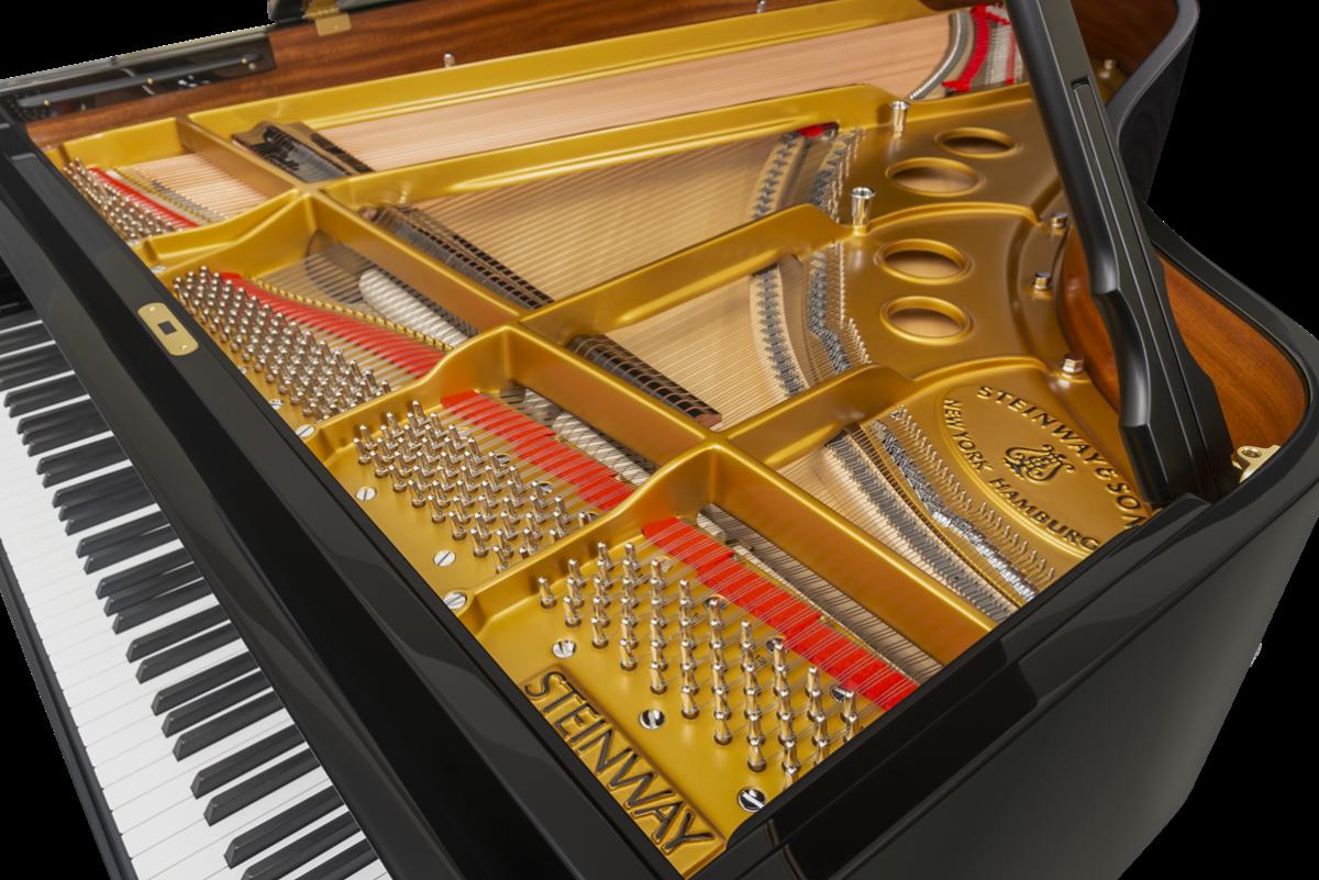 piano de cola Steinway & Sons O180 vista interior mecanismo cuerdas tabla armonica clavijero