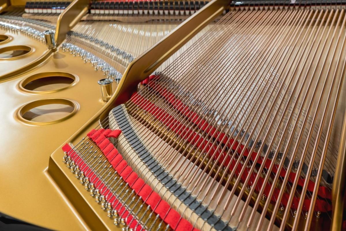 Steinway & Sons Spirio O180 #608031 vista trasera cuerdas fieltros