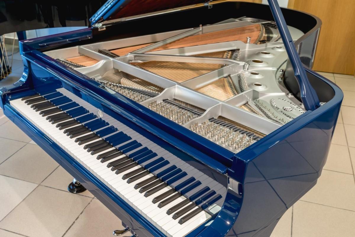 STEINWAY-B-211-ONE-ONLY-BLUE-SPIRIO-608277 vista mecánica arpa cuerdas clavijas clavijeros
