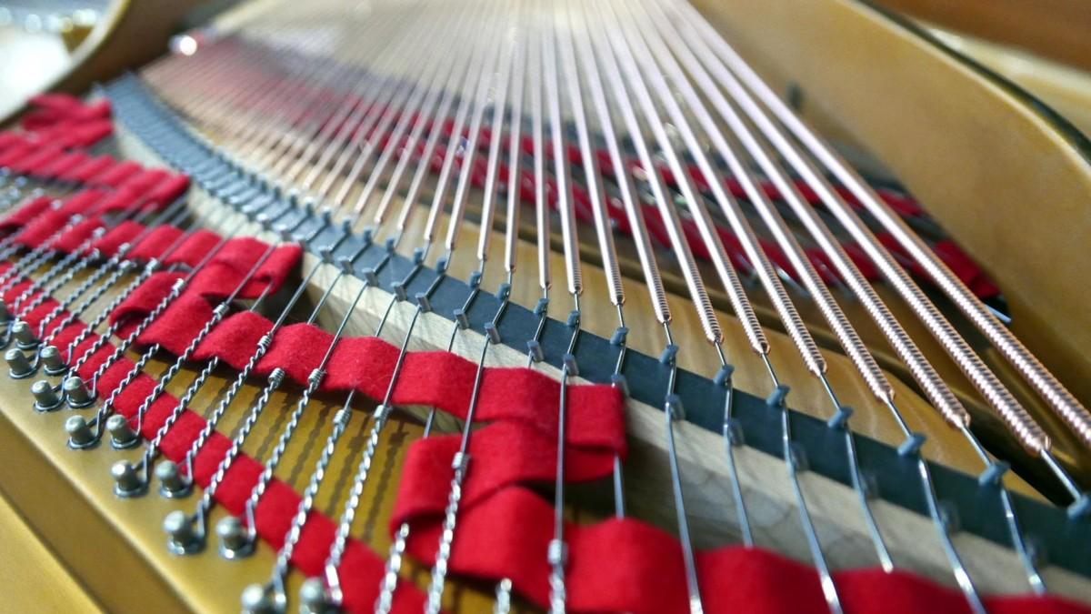 piano de cola Steinway & Sons O180 #466396 vista trasera cuerdas fieltros