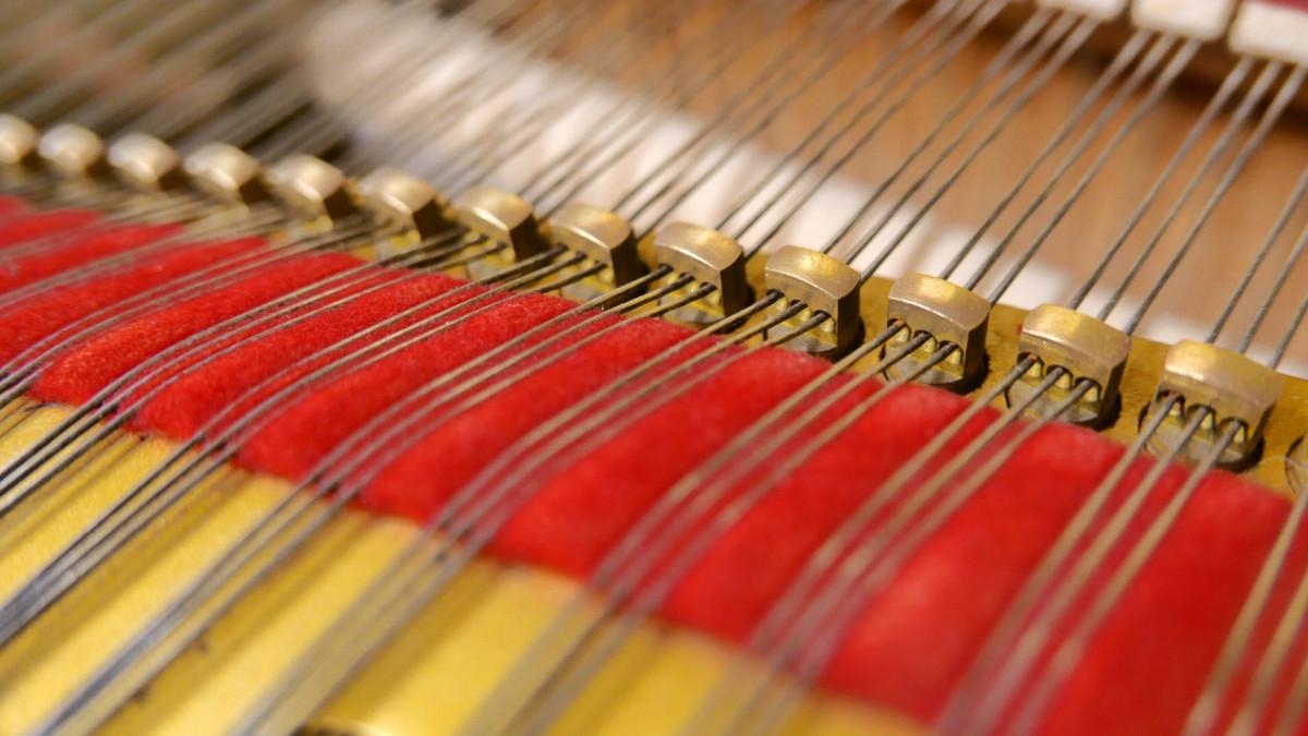 piano de cola Yamaha G2 #4310052 detalle agrafes interior mecanica