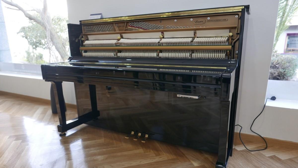 piano vertical Essex EUP123E silent #160221 vista general tapa cerrada mecanismo