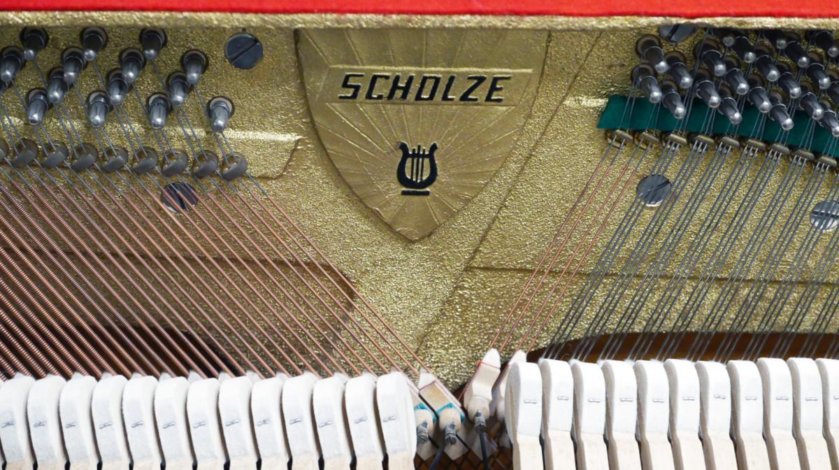 piano vertical Scholze 115 #54916 interior mecanica sello marca cuerdas clavijero