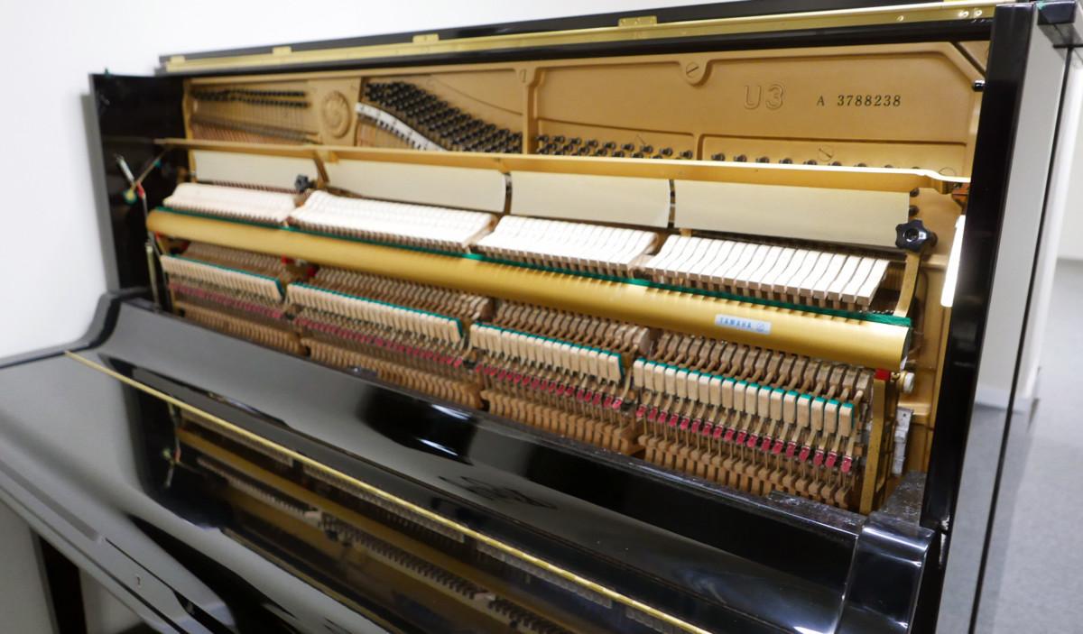 piano vertical Yamaha U3 #3788238 vista general lateral mecanica interior