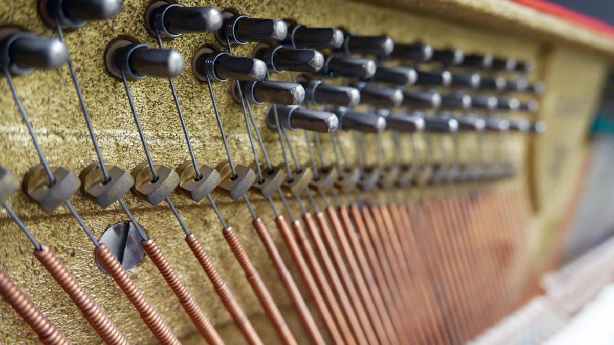piano vertical scholze115 #54916 detalle clavijero clavijas cuerdas interior mecanica