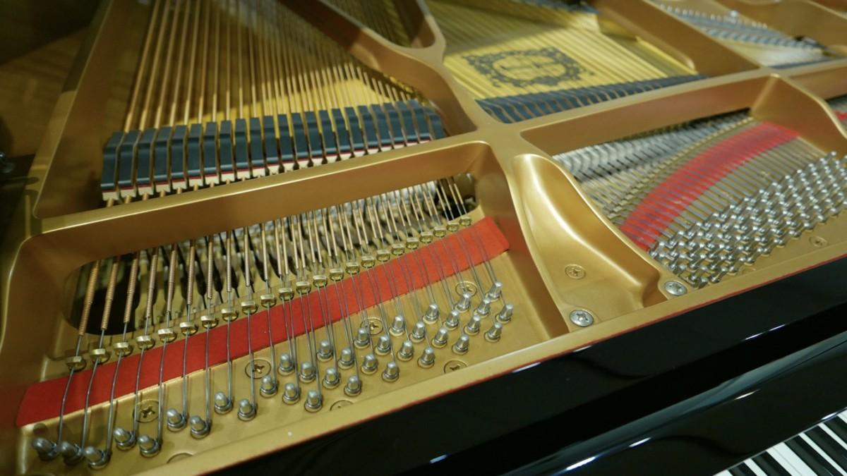 piano de cola Yamaha C6 #5605144 vista interior clavijero cuerdas