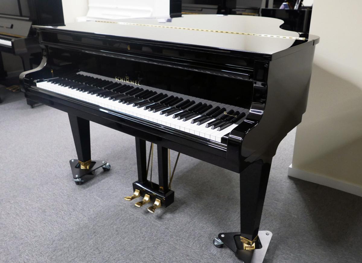 piano de cola Schimmel 174 #307484 vista general tapa cerrada teclado abierto