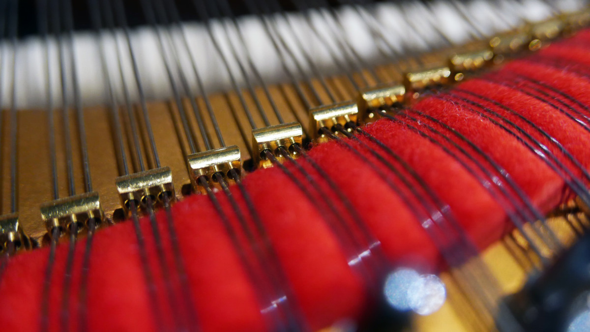 piano de cola Steinway & Sons O180 #238610 detalle agrafes fieltros