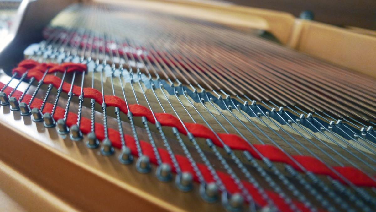 piano de cola Yamaha C3 #5972447 detalle cuerdas fieltros