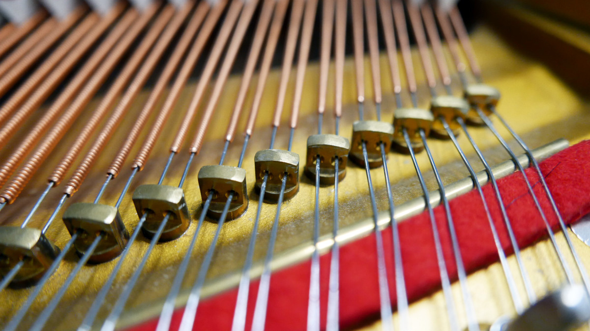 piano de cola Petrof 157 #478883 detalle agrafes cuerdas