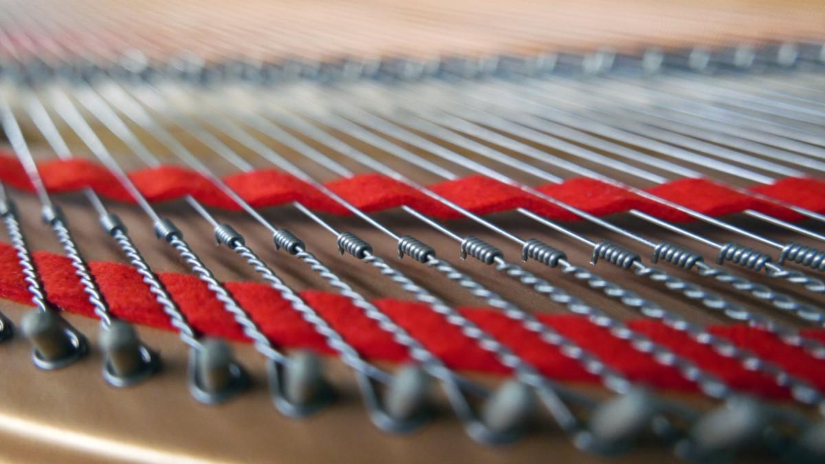 piano de cola Yamaha C5 #5449040 detalle fieltros cuerdas interior