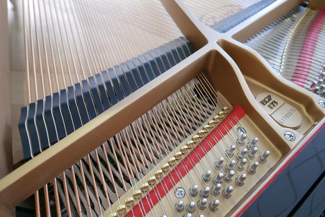 Piano_de_cola_Essex_EGP173C_176537_detalle_clavijas_bordones_apagadores_fieltros_bastidor_segunda_mano