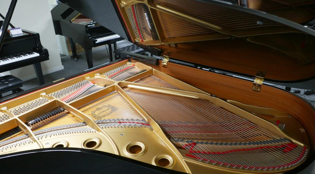 piano de cola Yamaha C3 #4791705 vista trasera lateral general arpa cuerdas