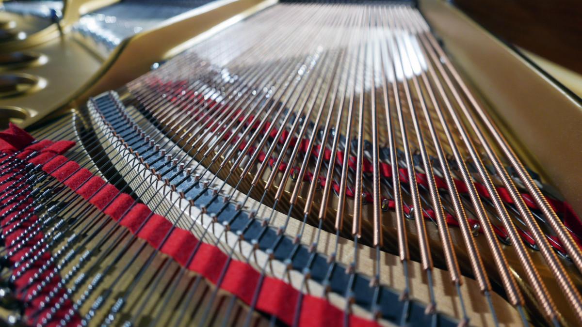 piano de cola nuevo SEMINUEVO. Steinway & Sons M170 Spirio #607508 vista trasera cuerdas filetros