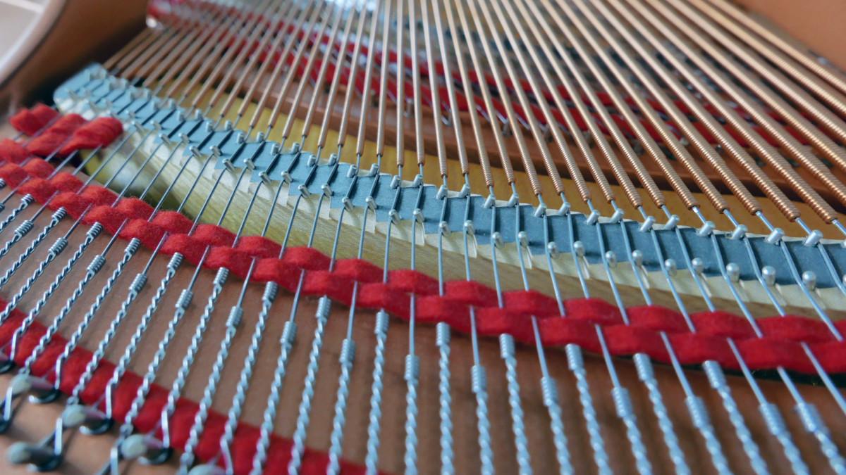 piano de cola Yamaha C1 Silent #6397127 vista trasera cuerdas fieltros interior