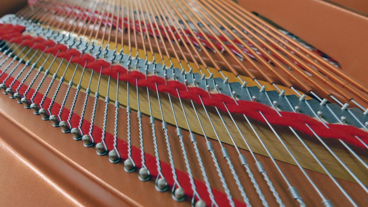 piano de cola Yamaha C3X #6366252 vista trasera cuerdas fieltros