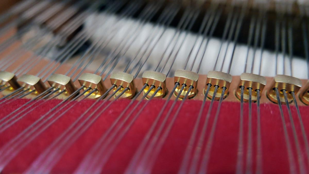 piano de cola Yamaha C3X #6349992 detalles agrafes cuerdas fieltros